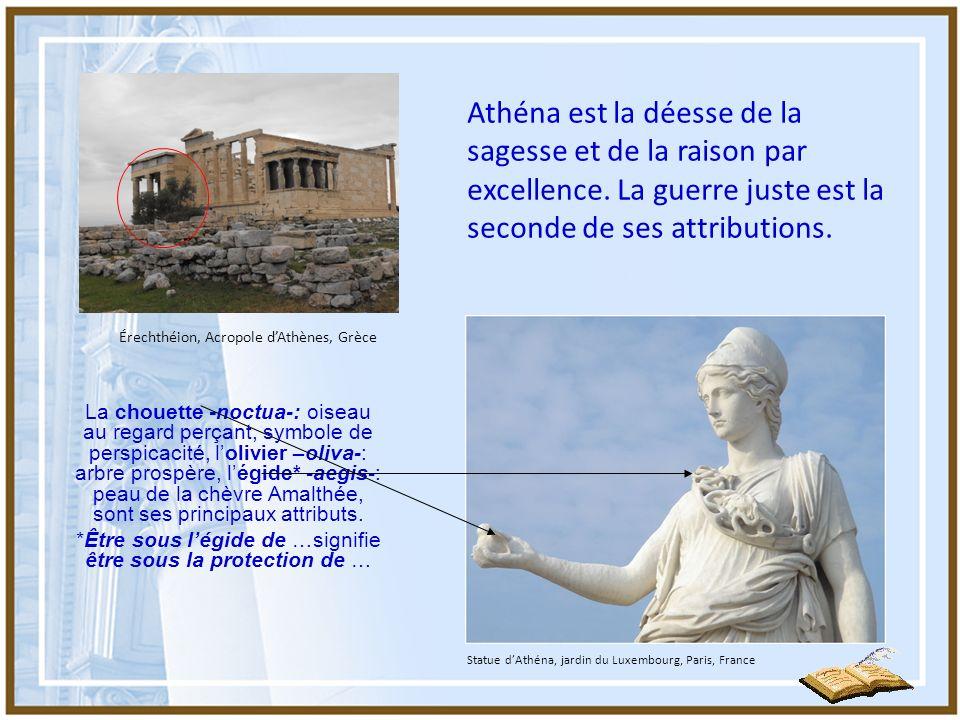 Athéna à légide, Musée de lAcropole, Athènes, Grèce Les serpents qui hérissaient la tête de la gorgone Méduse bordent légide au centre duquel Athéna a posé le Gorgéion, destiné à effrayer les ennemis.