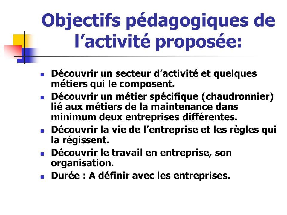 Objectifs pédagogiques de lactivité proposée: Découvrir un secteur dactivité et quelques métiers qui le composent. Découvrir un métier spécifique (cha