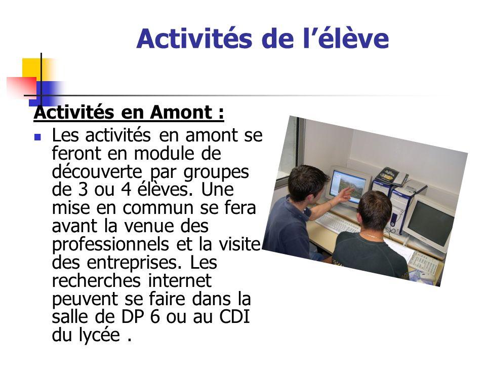 Activités de lélève Activités en Amont : Les activités en amont se feront en module de découverte par groupes de 3 ou 4 élèves. Une mise en commun se