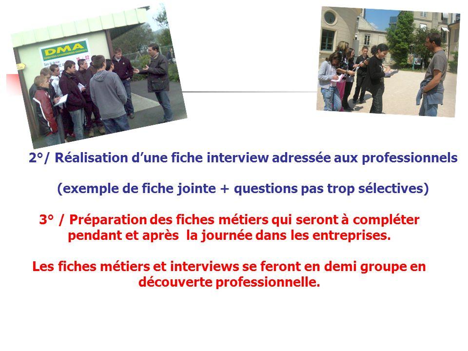 2°/ Réalisation dune fiche interview adressée aux professionnels (exemple de fiche jointe + questions pas trop sélectives) 3° / Préparation des fiches
