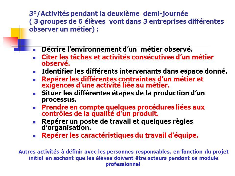 3°/Activités pendant la deuxième demi-journée ( 3 groupes de 6 élèves vont dans 3 entreprises différentes observer un métier) : Décrire lenvironnement
