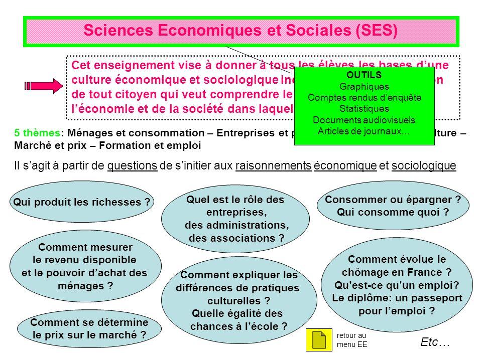 Sciences Economiques et Sociales (SES) 5 thèmes: Ménages et consommation – Entreprises et production – Individus et culture – Marché et prix – Formati