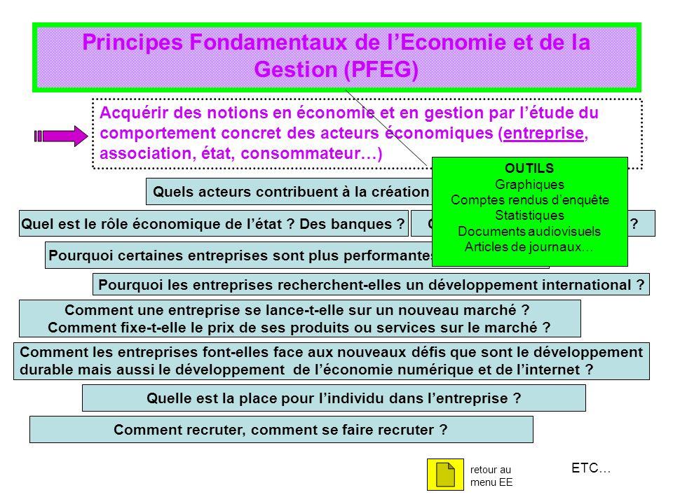 Principes Fondamentaux de lEconomie et de la Gestion (PFEG) Acquérir des notions en économie et en gestion par létude du comportement concret des acte