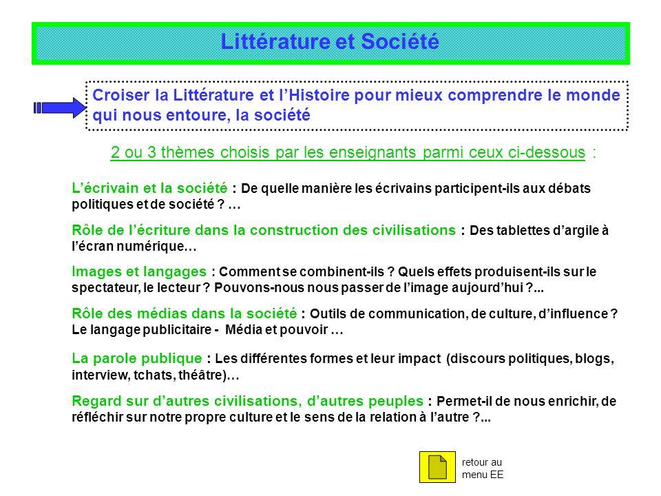 Littérature et Société Croiser la Littérature et lHistoire pour mieux comprendre le monde qui nous entoure, la société Lécrivain et la société : De qu