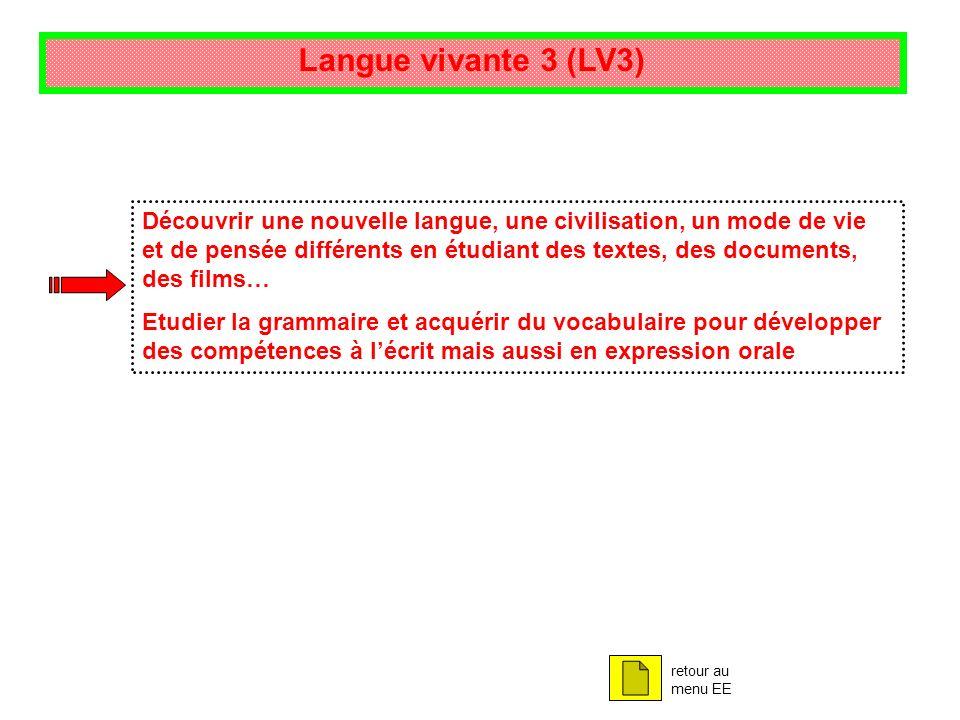 Langue vivante 3 (LV3) Découvrir une nouvelle langue, une civilisation, un mode de vie et de pensée différents en étudiant des textes, des documents,