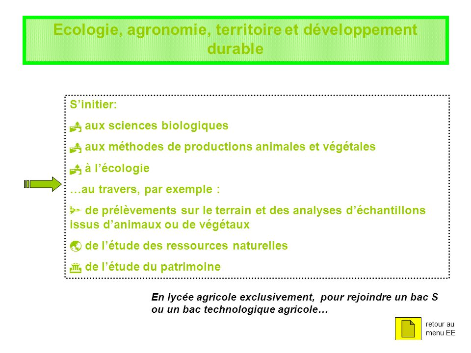 Ecologie, agronomie, territoire et développement durable Sinitier: aux sciences biologiques aux méthodes de productions animales et végétales à lécolo