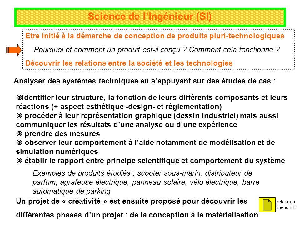Science de lIngénieur (SI) Etre initié à la démarche de conception de produits pluri-technologiques Pourquoi et comment un produit est-il conçu ? Comm