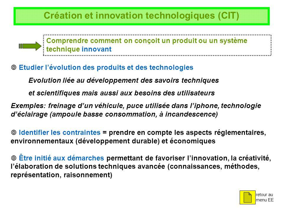 Création et innovation technologiques (CIT) Comprendre comment on conçoit un produit ou un système technique innovant Etudier lévolution des produits