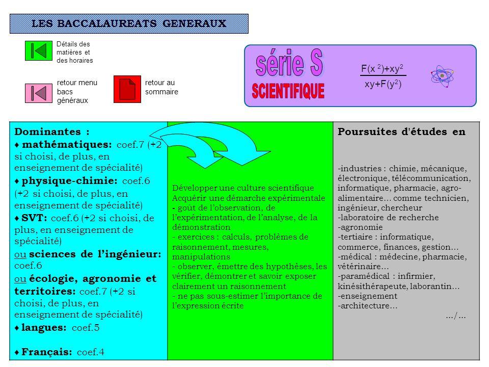 Dominantes : mathématiques: coef.7 (+2 si choisi, de plus, en enseignement de spécialité) physique-chimie: coef.6 (+2 si choisi, de plus, en enseignem