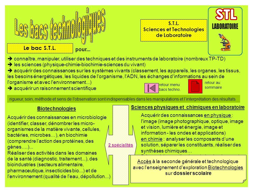 pour... connaître, manipuler, utiliser des techniques et des instruments de laboratoire (nombreux TP-TD) les sciences (physique-chimie-biochimie-scien