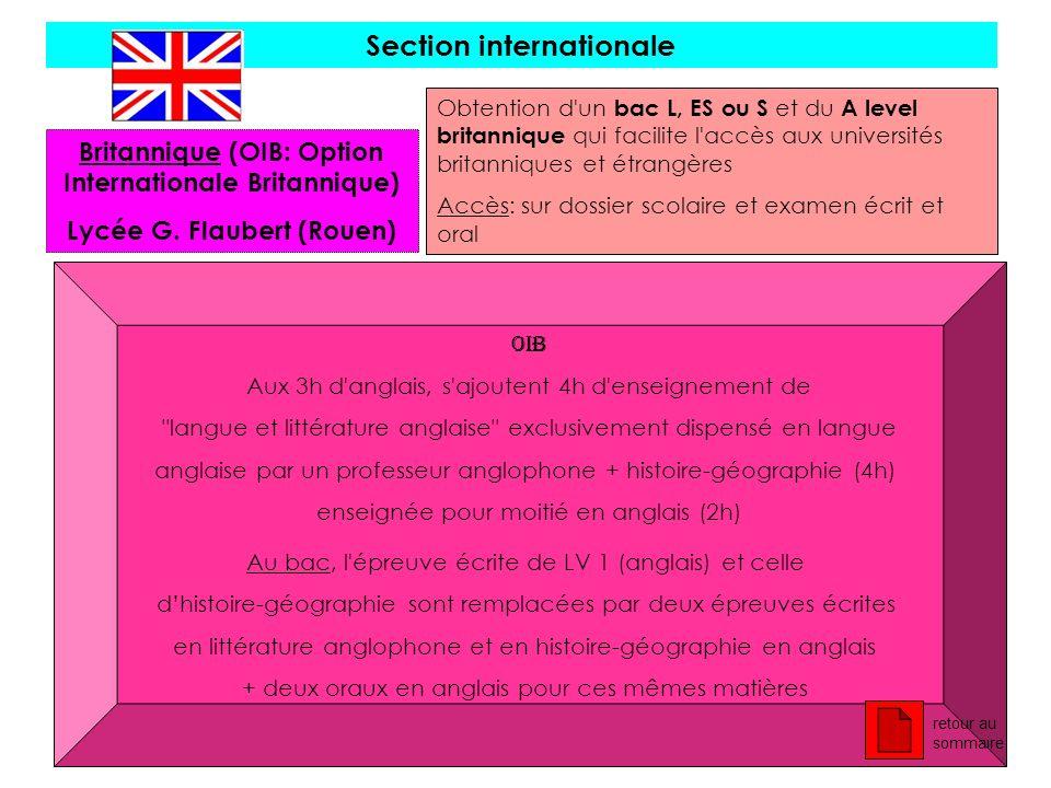 Section internationale Britannique (OIB: Option Internationale Britannique) Lycée G. Flaubert (Rouen) Obtention d'un bac L, ES ou S et du A level brit