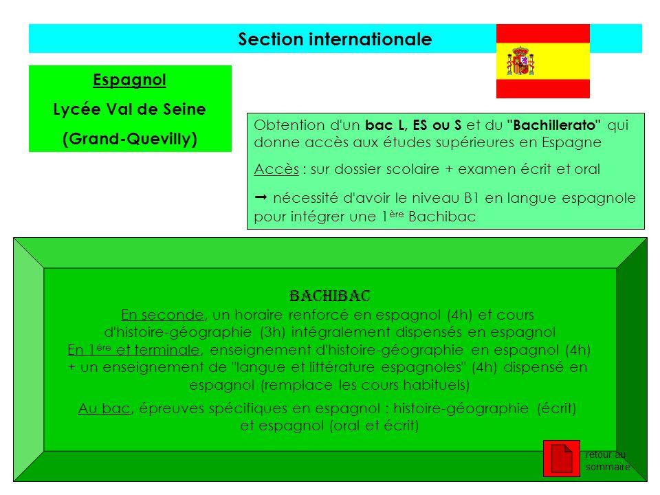 Section internationale Espagnol Lycée Val de Seine (Grand-Quevilly) Obtention d'un bac L, ES ou S et du