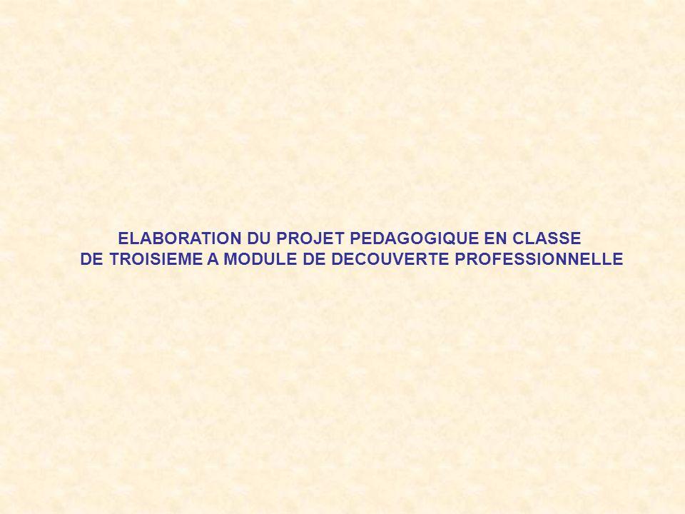 ELABORATION DU PROJET PEDAGOGIQUE EN CLASSE DE TROISIEME A MODULE DE DECOUVERTE PROFESSIONNELLE