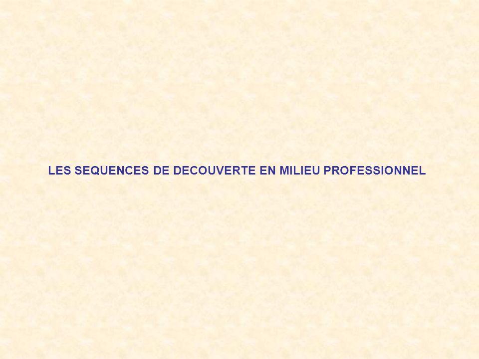 LES SEQUENCES DE DECOUVERTE EN MILIEU PROFESSIONNEL