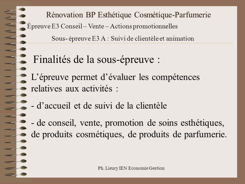 Ph. Lieury IEN Economie Gestion Rénovation BP Esthétique Cosmétique-Parfumerie Épreuve E3 Conseil – Vente – Actions promotionnelles Sous- épreuve E3 A