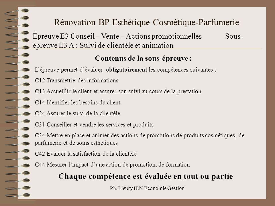 Ph. Lieury IEN Economie Gestion Rénovation BP Esthétique Cosmétique-Parfumerie Épreuve E3 Conseil – Vente – Actions promotionnellesSous- épreuve E3 A