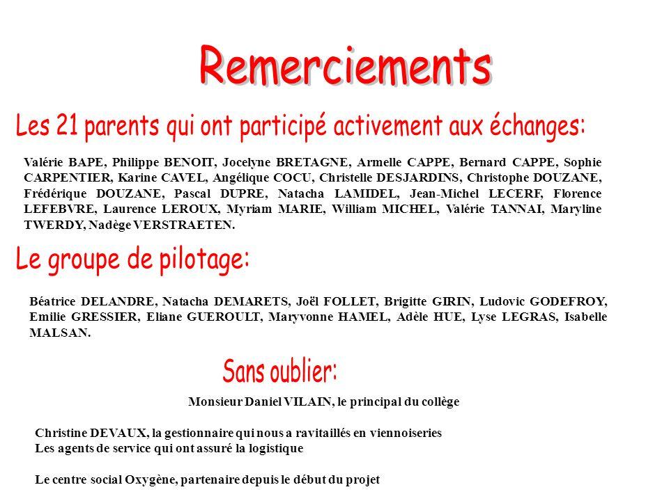 Valérie BAPE, Philippe BENOIT, Jocelyne BRETAGNE, Armelle CAPPE, Bernard CAPPE, Sophie CARPENTIER, Karine CAVEL, Angélique COCU, Christelle DESJARDINS