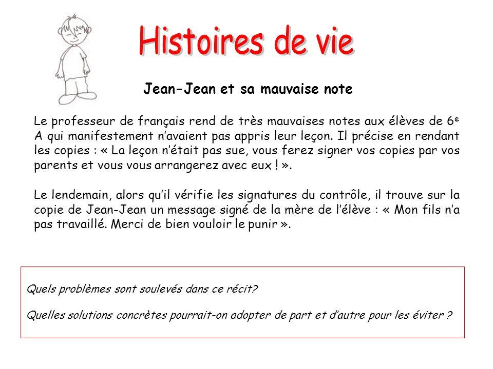 Jean-Jean et sa mauvaise note Le professeur de français rend de très mauvaises notes aux élèves de 6 e A qui manifestement navaient pas appris leur le
