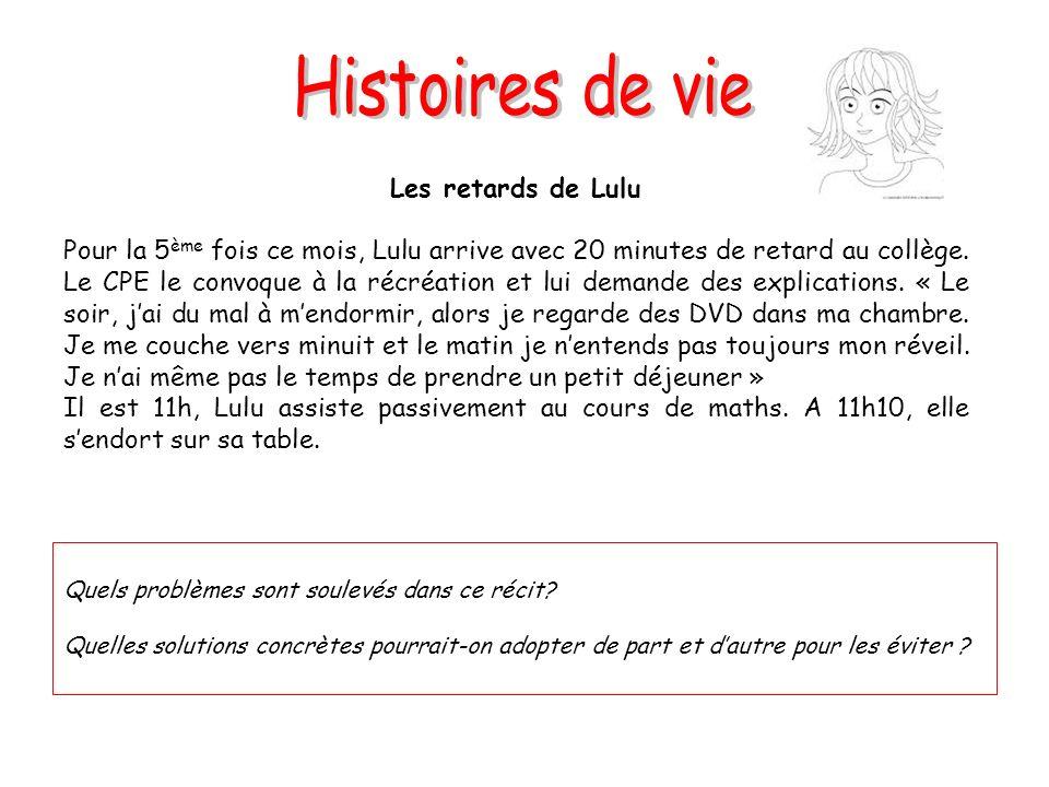 Les retards de Lulu Pour la 5 ème fois ce mois, Lulu arrive avec 20 minutes de retard au collège. Le CPE le convoque à la récréation et lui demande de