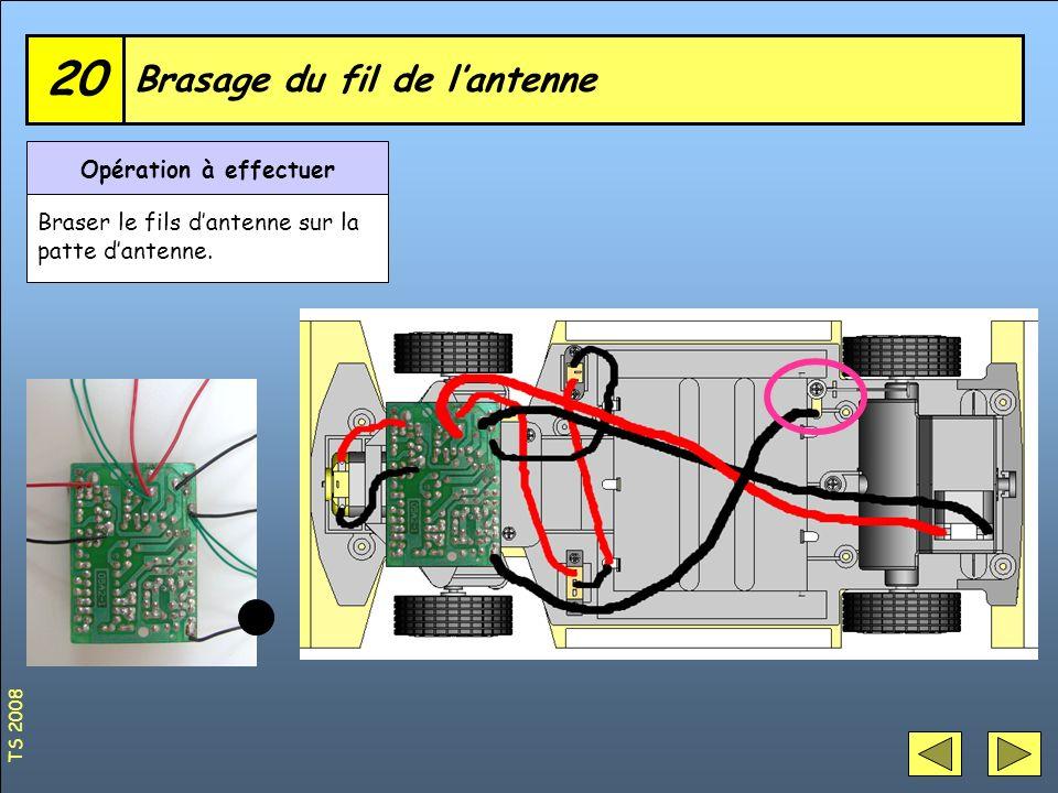 Brasage du fil de lantenne 20 Opération à effectuer Braser le fils dantenne sur la patte dantenne. TS 2008