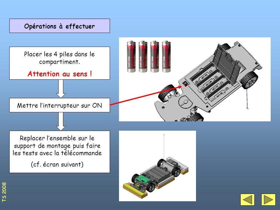 Opérations à effectuer Placer les 4 piles dans le compartiment. Attention au sens ! Mettre linterrupteur sur ON Replacer lensemble sur le support de m