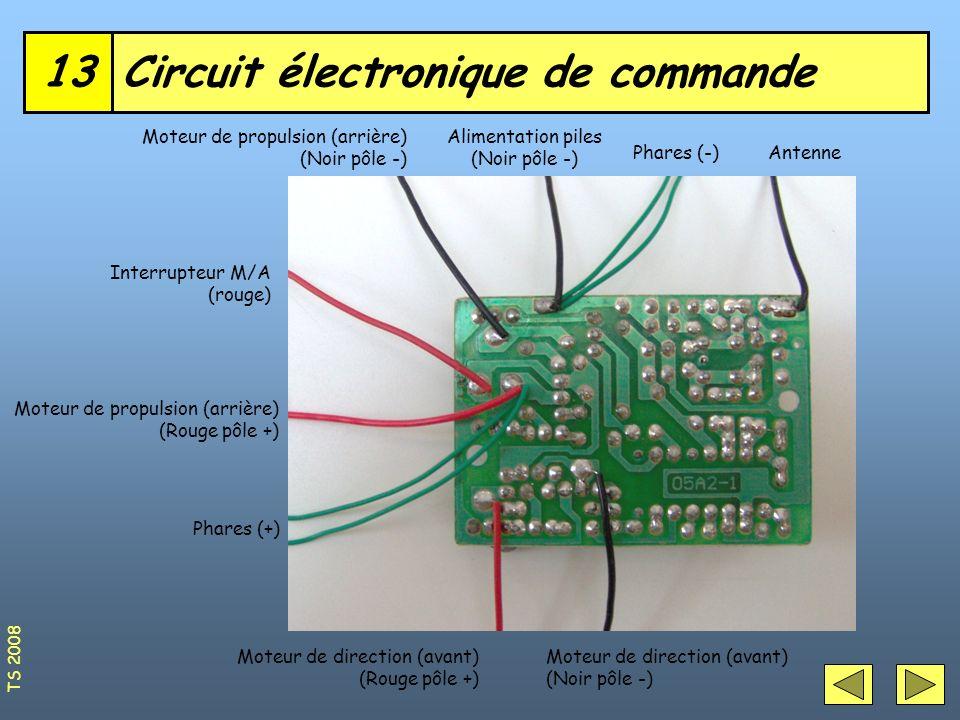 Circuit électronique de commande13 AntennePhares (-) Alimentation piles (Noir pôle -) Moteur de propulsion (arrière) (Noir pôle -) Interrupteur M/A (r