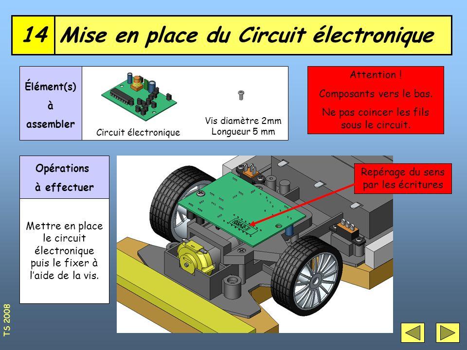 Mise en place du Circuit électronique14 Vis diamètre 2mm Longueur 5 mm Élément(s) à assembler Opérations à effectuer Mettre en place le circuit électr