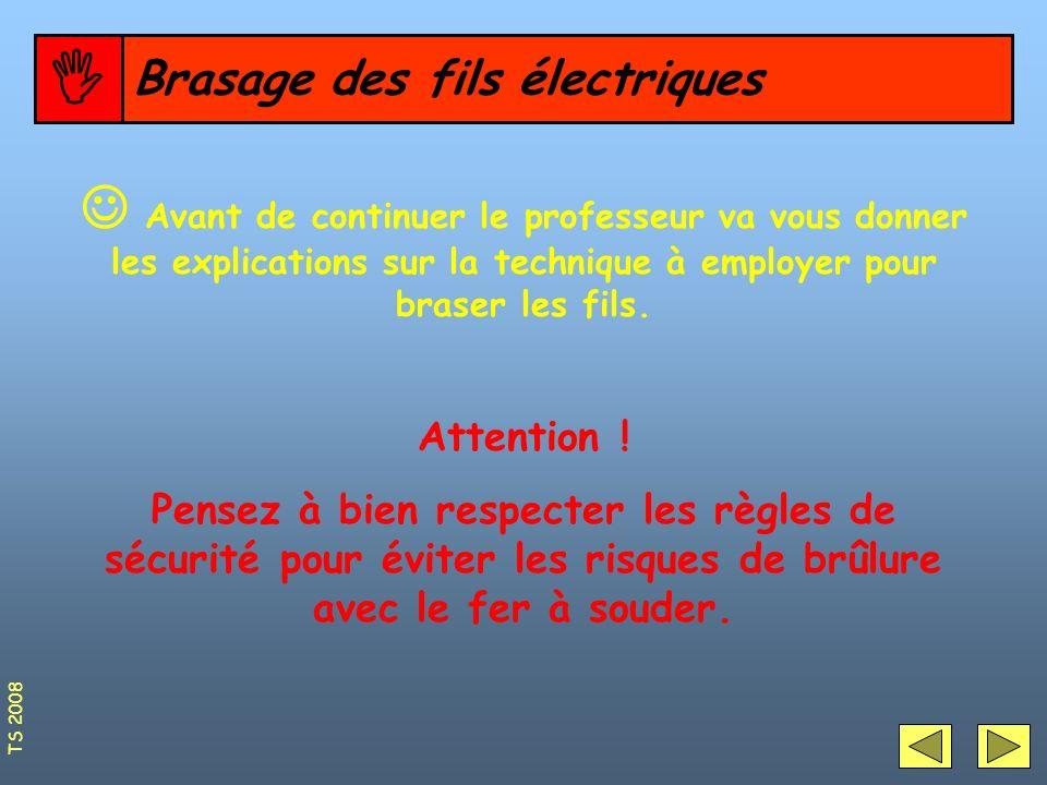 Organisation du poste pour le Brasage (soudage) des fils électriques 15 Sur le poste de travail il vous faudra : Un support de fer à souder Du fil détain Une plaque de protection Un fer à souder Une pince plate Attention DANGER .
