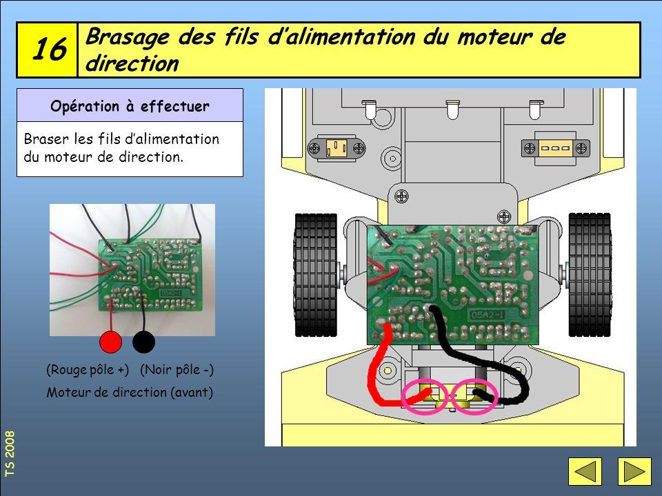 Brasage des fils de linterrupteur et de la fiche chargeur (+) 17 Opération à effectuer Braser les fils de linterrupteur et de la fiche chargeur (+) Interrupteur M/A (rouge) TS 2008