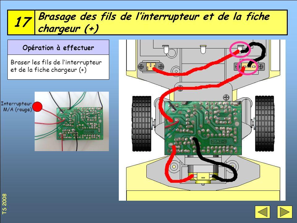 Brasage des fils de linterrupteur et de la fiche chargeur (+) 17 Opération à effectuer Braser les fils de linterrupteur et de la fiche chargeur (+) In