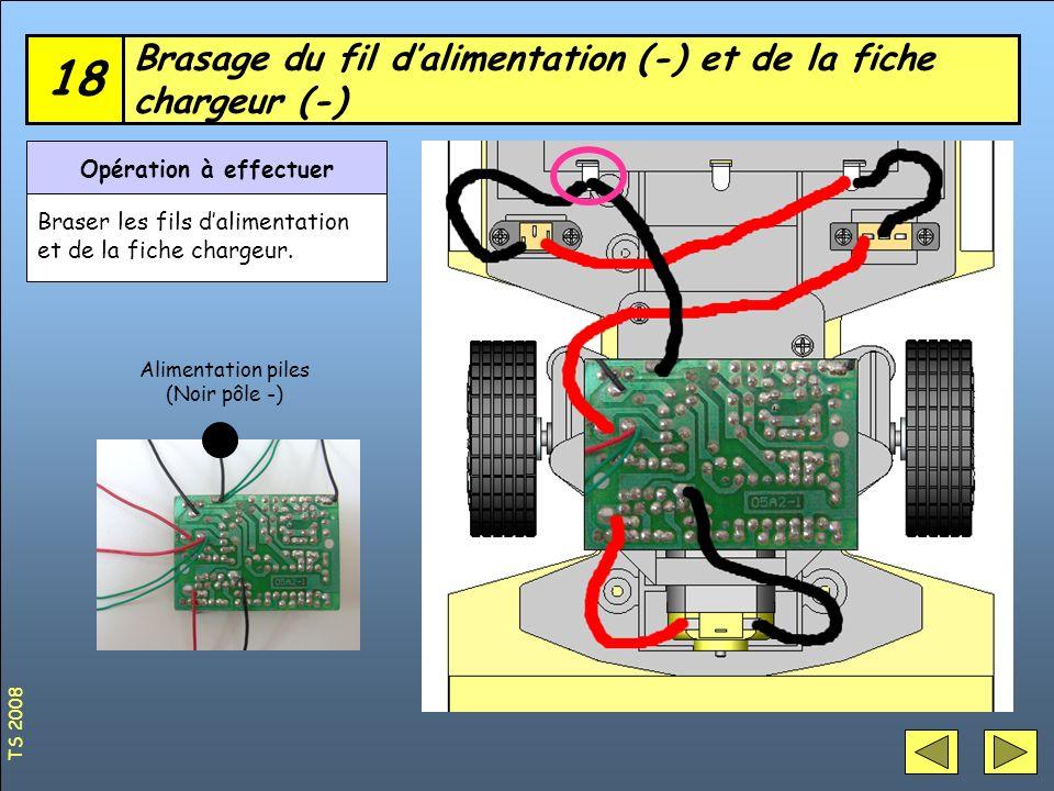 Brasage du fil dalimentation (-) et de la fiche chargeur (-) 18 Opération à effectuer Braser les fils dalimentation et de la fiche chargeur. Alimentat