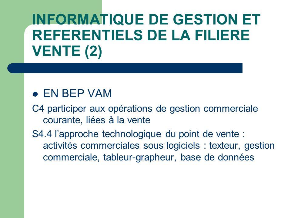 INFORMATIQUE DE GESTION ET REFERENTIELS DE LA FILIERE VENTE (2) EN BEP VAM C4 participer aux opérations de gestion commerciale courante, liées à la ve