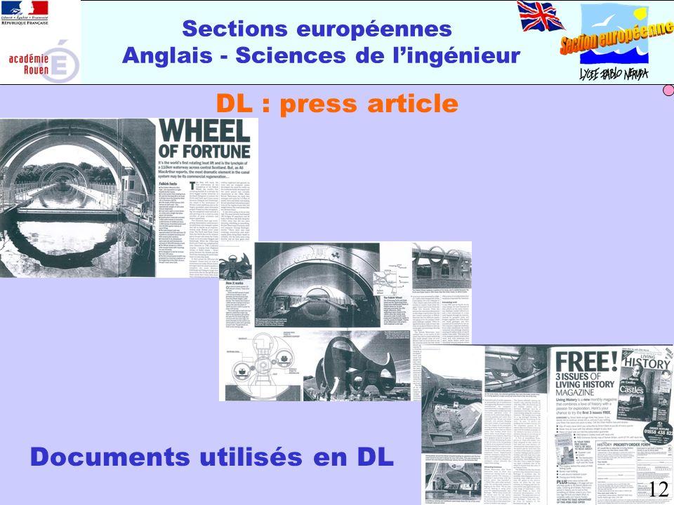 Sections européennes Anglais - Sciences de lingénieur DL : press article Documents utilisés en DL 12