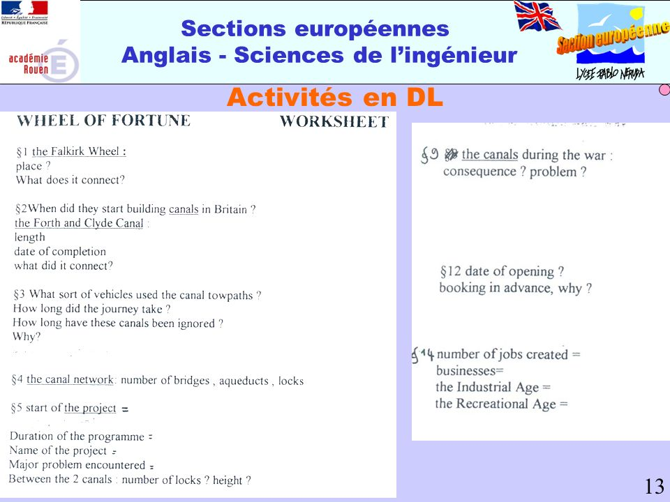 Sections européennes Anglais - Sciences de lingénieur Activités en DL 13