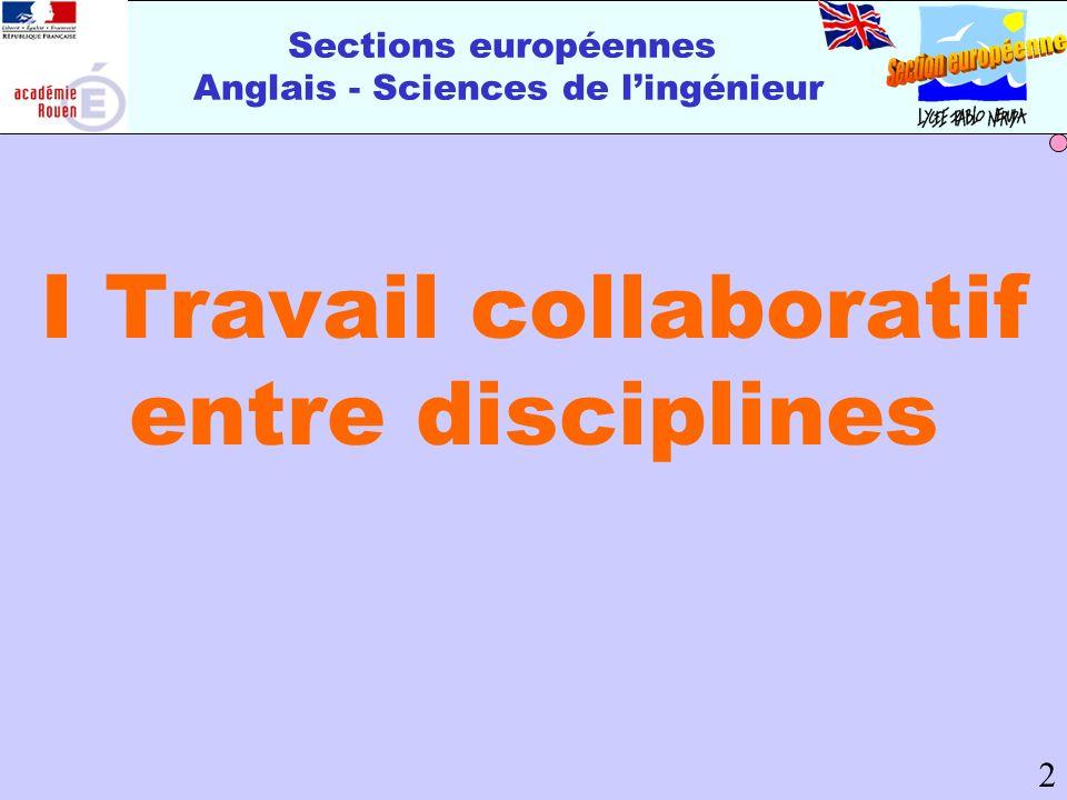 Sections européennes Anglais - Sciences de lingénieur I Travail collaboratif entre disciplines 2