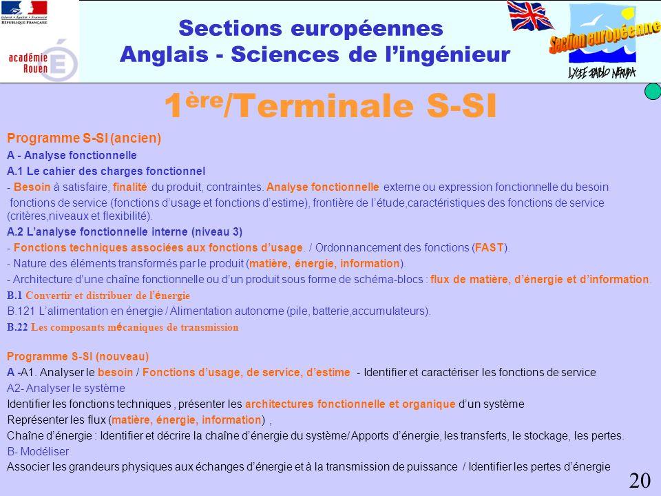 Sections européennes Anglais - Sciences de lingénieur 1 ère /Terminale S-SI Programme S-SI (ancien) A - Analyse fonctionnelle A.1 Le cahier des charge
