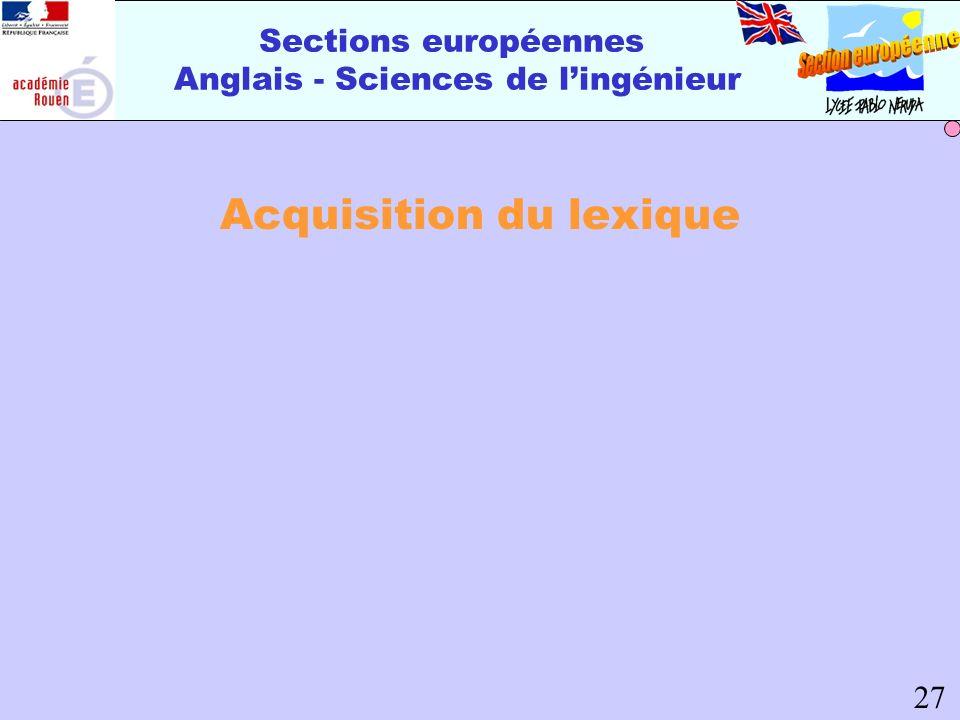 Sections européennes Anglais - Sciences de lingénieur Acquisition du lexique 27