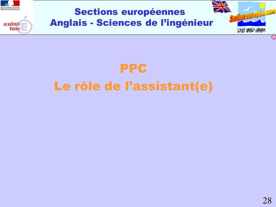 Sections européennes Anglais - Sciences de lingénieur PPC Le rôle de lassistant(e) 28