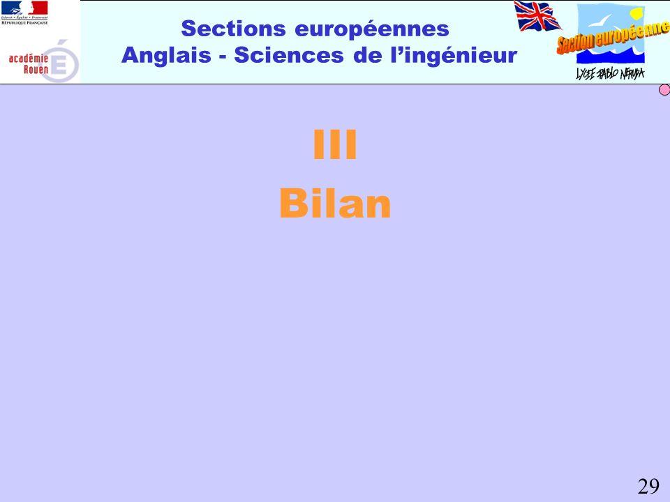 Sections européennes Anglais - Sciences de lingénieur III Bilan 29