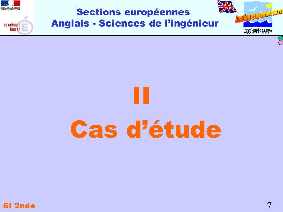 Sections européennes Anglais - Sciences de lingénieur II Cas détude 7 SI 2nde