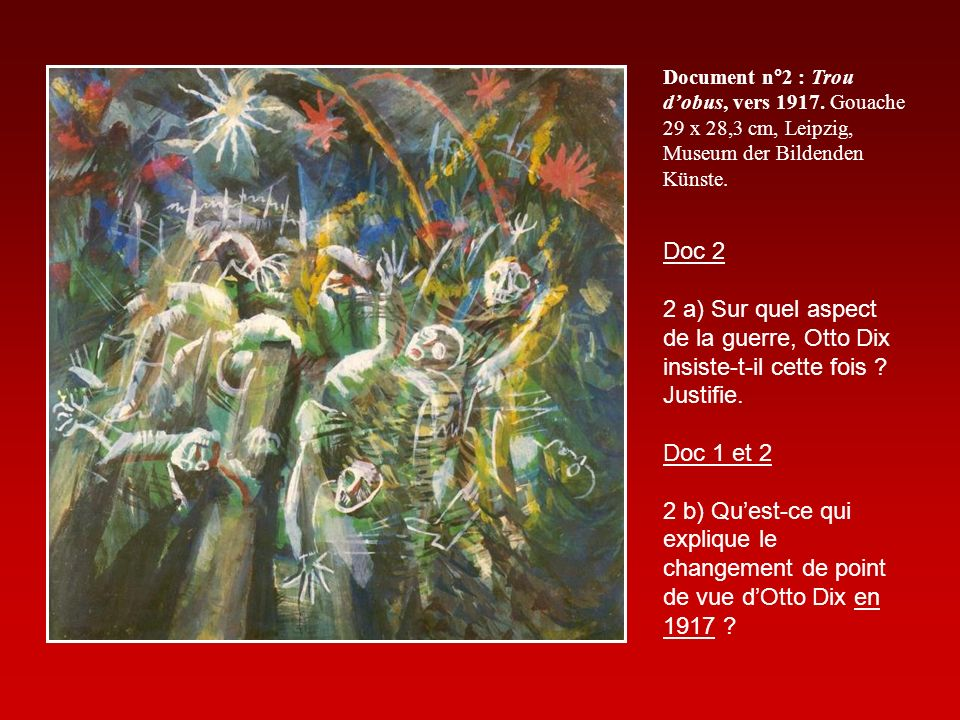 Document n°2 : Trou dobus, vers 1917. Gouache 29 x 28,3 cm, Leipzig, Museum der Bildenden Künste.