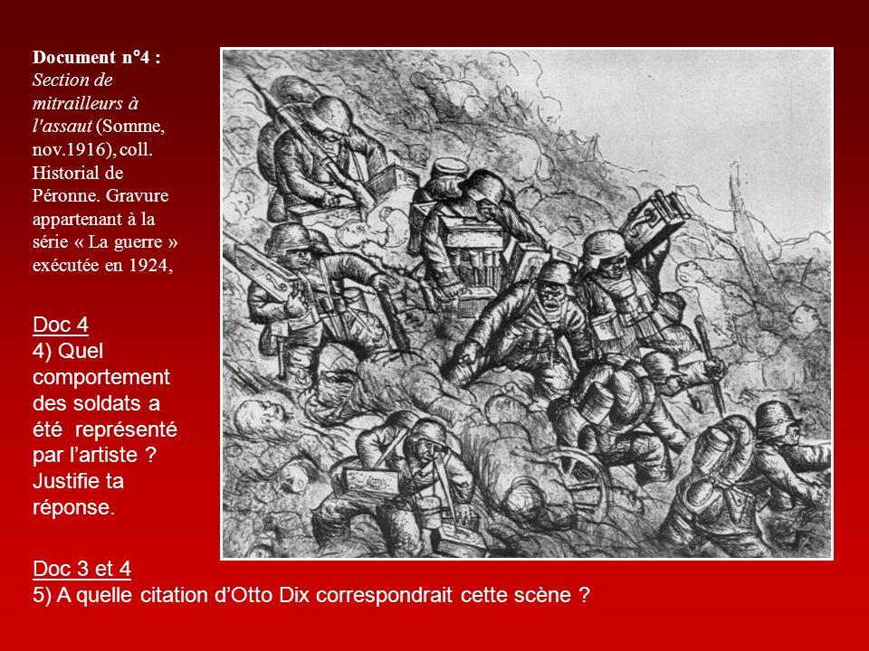 Document n°4 : Section de mitrailleurs à l'assaut (Somme, nov.1916), coll. Historial de Péronne. Gravure appartenant à la série « La guerre » exécutée