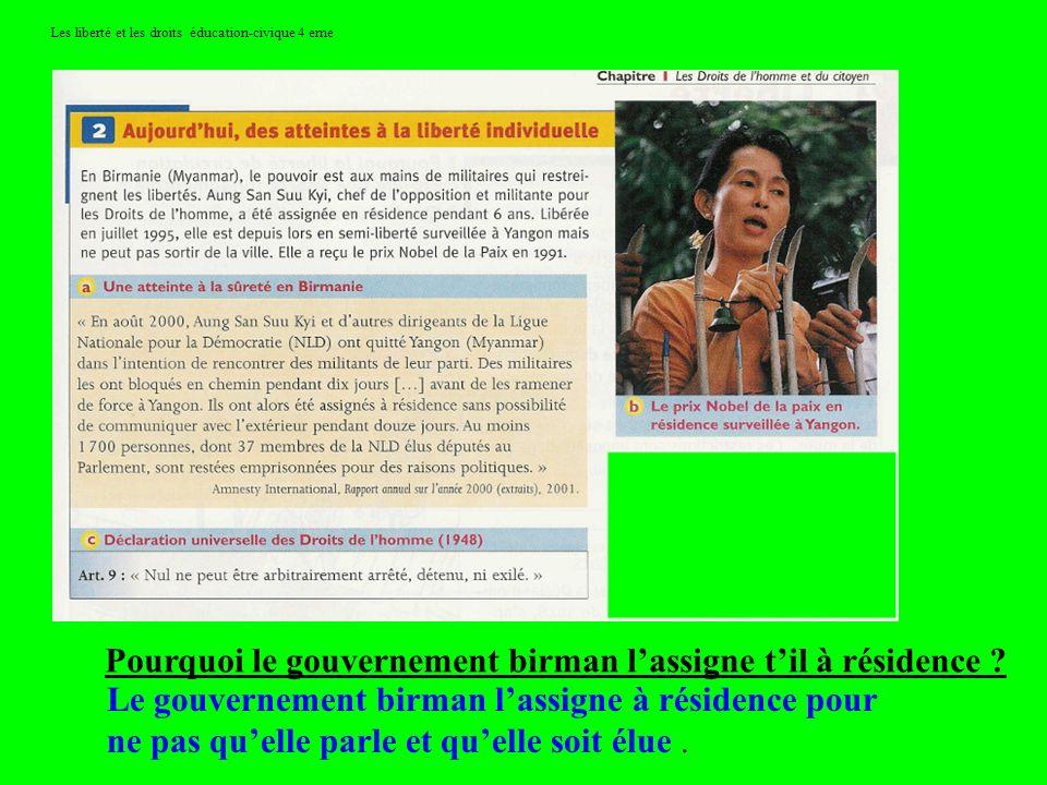 Les liberté et les droits éducation-civique 4 eme Pourquoi le gouvernement birman lassigne til à résidence ? Le gouvernement birman lassigne à résiden