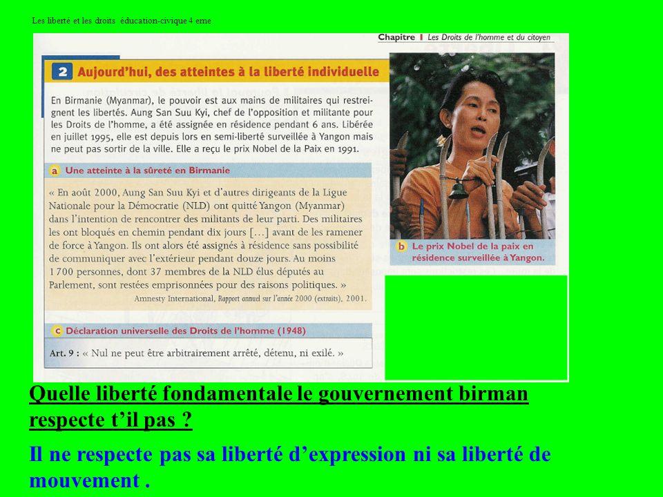 Les liberté et les droits éducation-civique 4 eme Quelle liberté fondamentale le gouvernement birman respecte til pas ? Il ne respecte pas sa liberté