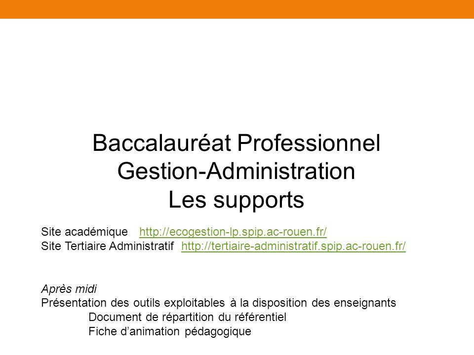 Baccalauréat Professionnel Gestion-Administration Les supports Site académique http://ecogestion-lp.spip.ac-rouen.fr/http://ecogestion-lp.spip.ac-rouen.fr/ Site Tertiaire Administratif http://tertiaire-administratif.spip.ac-rouen.fr/http://tertiaire-administratif.spip.ac-rouen.fr/ Après midi Présentation des outils exploitables à la disposition des enseignants Document de répartition du référentiel Fiche danimation pédagogique
