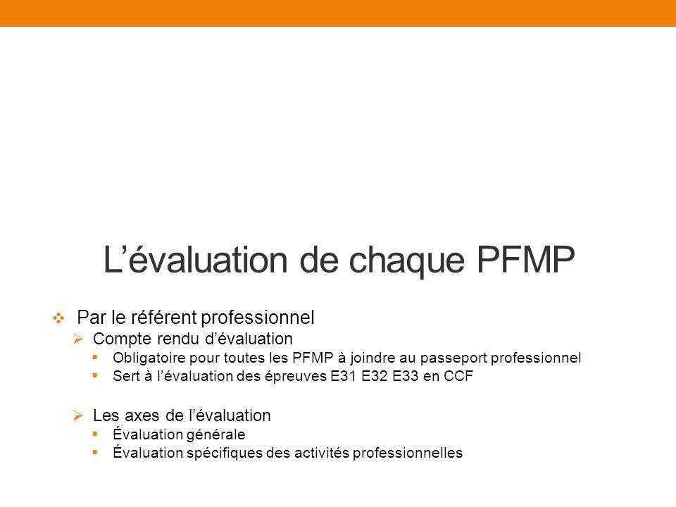 Lévaluation de chaque PFMP Par le référent professionnel Compte rendu dévaluation Obligatoire pour toutes les PFMP à joindre au passeport professionnel Sert à lévaluation des épreuves E31 E32 E33 en CCF Les axes de lévaluation Évaluation générale Évaluation spécifiques des activités professionnelles