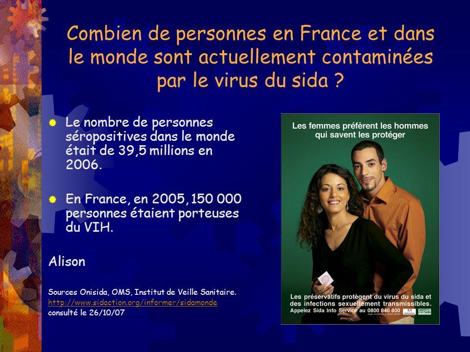 Combien de personnes en France et dans le monde sont actuellement contaminées par le virus du sida ? Le nombre de personnes séropositives dans le mond