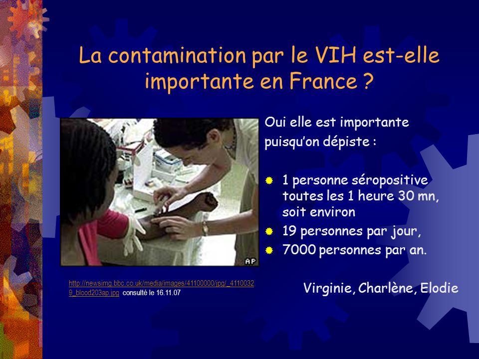 La contamination par le VIH est-elle importante en France ? Oui elle est importante puisquon dépiste : 1 personne séropositive toutes les 1 heure 30 m