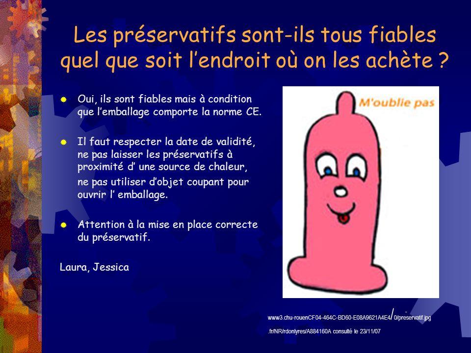 Les préservatifs sont-ils tous fiables quel que soit lendroit où on les achète ? Oui, ils sont fiables mais à condition que lemballage comporte la nor