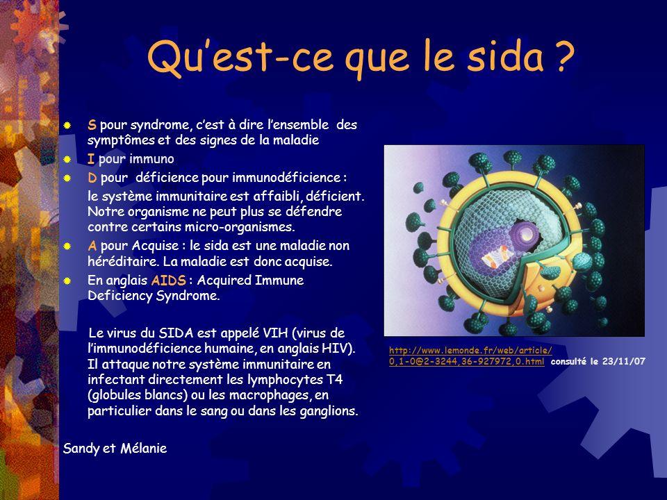 Quest-ce que le sida ? S pour syndrome, cest à dire lensemble des symptômes et des signes de la maladie I pour immuno D pour déficience pour immunodéf